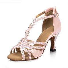 De mujer Satén Sandalias Danza latina con Rhinestone Tira T Zapatos de danza