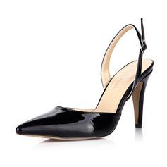 Женщины Лакированная кожа Высокий тонкий каблук На каблуках Закрытый мыс Босоножки с пряжка обувь