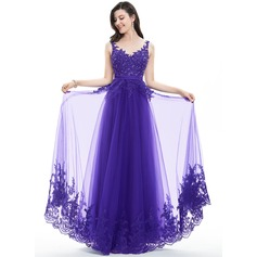 A-Line/Princess V-neck Floor-Length Tulle Lace Prom Dress With Beading Sequins Bow(s) (018105704)