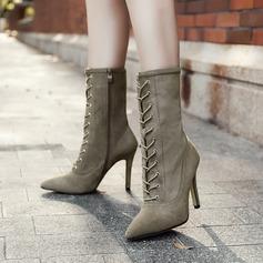 Frauen Veloursleder Stöckel Absatz Absatzschuhe Stiefel-Wadenlang mit Reißverschluss Zuschnüren Schuhe