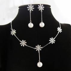 Elegante Circón/La perla de faux con La perla de faux Señoras' Sistemas de la joyería