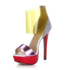 Patent Leather PVC Stiletto Heel Sandals Platform Peep Toe shoes