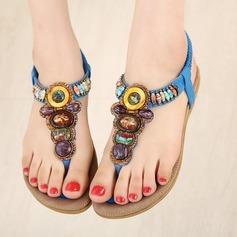 Женщины кожа Плоский каблук Сандалии На плокой подошве Открытый мыс с горный хрусталь Эластичная лента обувь