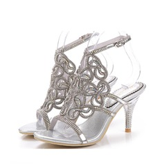 Women's Leatherette Stiletto Heel Sandals Slingbacks With Rhinestone (047083947)