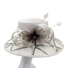 Signore Affascinante/Fatto a mano/Nizza Cambrì con Piuma Kentucky Derby Hats/Cappelli da Tea Party