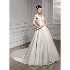 A-Line/Princess V-neck Court Train Satin Wedding Dress With Ruffle Beading Sequins