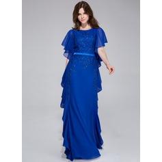 Vestidos princesa/ Formato A Decote redondo Longos De chiffon Vestido de festa com Bordado Babados em cascata