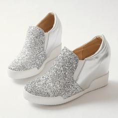 Frauen Funkelnde Glitzer PU Keil Absatz Geschlossene Zehe Keile Schuhe