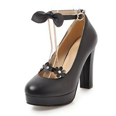 Women's PU Chunky Heel Pumps Platform Closed Toe With Bowknot Tassel Flower shoes