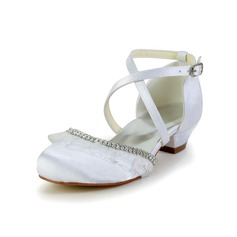 Jentas Lukket Tå Satin lav Heel Flower Girl Shoes med Rhinestone (207095464)