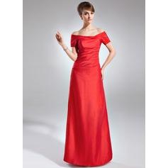 Etui-Linie Schulterfrei Bodenlang Taft Kleid für die Brautmutter mit Rüschen
