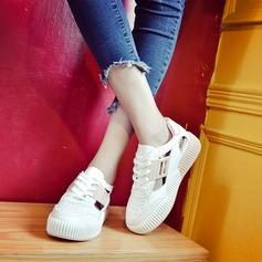 Women's PU Wedge Heel Wedges With Lace-up Hollow-out shoes