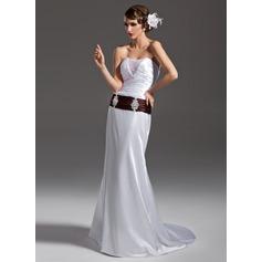 Forme Sirène/Trompette Sans bretelle Traîne moyenne Charmeuse Robe de mariée avec Plissé Ceintures Emperler