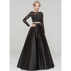 Duchesse-Linie U-Ausschnitt Bodenlang Satin Abendkleid mit Perlstickerei