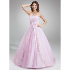 Ball-Gown Scalloped Neck Chapel Train Tulle Prom Dress With Ruffle Beading Appliques Lace