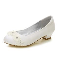 Pigens Round Toe Lukket Tå Mary Jane Silk Ligesom Satin lav Hæl Flower Girl Shoes med Rhinsten Applikation (207202103)