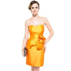Sheath/Column Sweetheart Knee-Length Taffeta Cocktail Dress With Flower(s) Cascading Ruffles