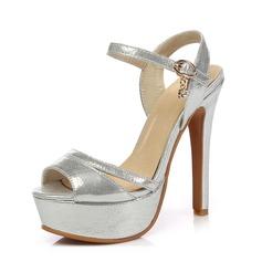 Kvinder Kunstlæder Stiletto Hæl sandaler Platform Slingbacks sko (087090369)
