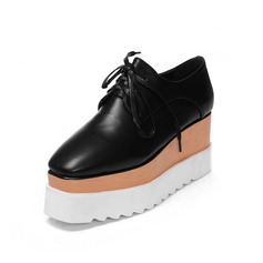 Real Leather Wedge Heel Platform Closed Toe Wedges With Lace-up shoes (116060462)
