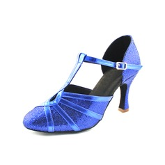 Women's Leatherette Sparkling Glitter Heels Pumps Ballroom With T-Strap Dance Shoes (053013261)