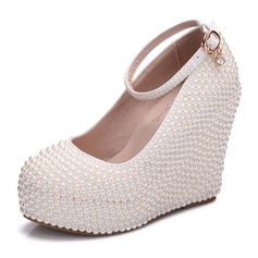 Women's Leatherette Wedge Heel Closed Toe Platform Wedges With Pearl