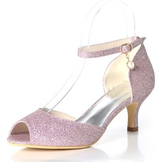 Women's Sparkling Glitter Stiletto Heel Peep Toe Pumps With Buckle (047195490)