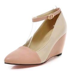 Vrouwen Kunstleer Wedge Heel Pumps Closed Toe Wedges met Gesp schoenen