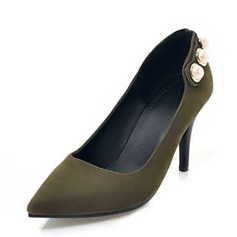 Women's Suede Cone Heel Pumps Closed Toe With Imitation Pearl shoes