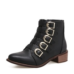Frauen PU Niederiger Absatz Stiefel Stiefelette mit Schnalle Reißverschluss Schuhe