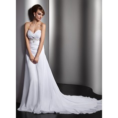 A-Line/Princess Sweetheart Chapel Train Chiffon Wedding Dress With Ruffle Beading Sequins