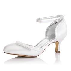 De mujer Satén Tacón carrete Cerrados Salón Zapatos Que Se Pueden Teñir