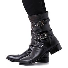 Vrouwen Kunstleer Chunky Heel Laarzen Half-Kuit Laarzen Martin Boots met Gesp schoenen
