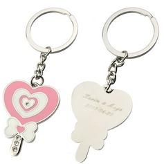 Personlig Hjärtadesign Zinklegering Nyckelringar (Sats om 6)