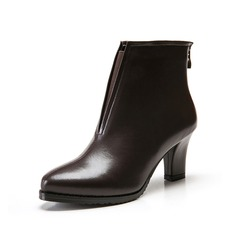 Leatherette Cone Heel Pumps Ankle Boots With Zipper Split Joint shoes