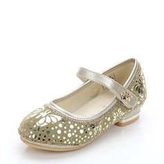 Girl's Leatherette Low Heel Round Toe Closed Toe Flats With Sequin Velcro Crystal