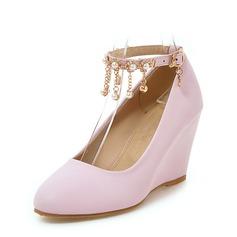 Vrouwen PU Wedge Heel Pumps Closed Toe Wedges met Keten schoenen