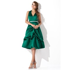 A-Line/Princess Halter Knee-Length Satin Bridesmaid Dress With Ruffle Sash