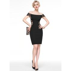 Платье-чехол Выкл-в-плечо Длина до колен Jersey Коктейльные Платье