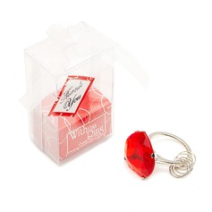 Heart Shaped Chrome Keychains With Ring