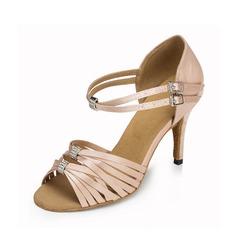 Женщины Атлас На каблуках Сандалии Латино с пряжка Обувь для танцев