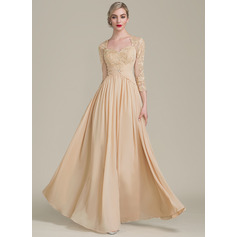 A-Line/Princess Sweetheart Floor-Length Chiffon Lace Mother of the Bride Dress With Ruffle Beading (008102671)