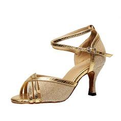 Женщины кожа На каблуках Сандалии Латино с Ремешок на щиколотке Обувь для танцев