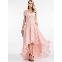 Corte A Off-the-ombro Assimétrico Tecido de seda Vestido de festa com lantejoulas
