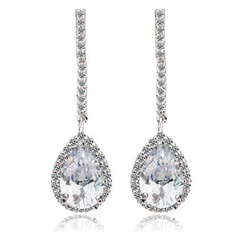 Luxurious Copper/Platinum Plated/Cubic Zirconia Ladies' Earrings