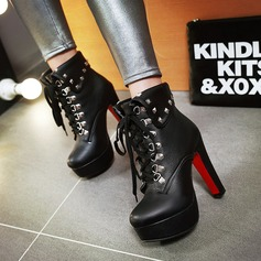 De mujer PU Tacón ancho Salón Plataforma Botas con Rivet Cordones zapatos