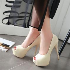 Femmes Similicuir Talon stiletto Plateforme À bout ouvert chaussures (117125165)