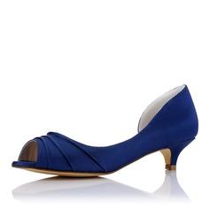 Women's Silk Like Satin Low Heel Peep Toe With Ruffles
