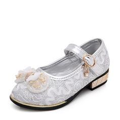 Girl's Leatherette Flat Heel Closed Toe Flats With Beading Bowknot Rhinestone Velcro