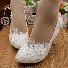 Women's Lace Leatherette Stiletto Heel Closed Toe Pumps With Imitation Pearl Applique