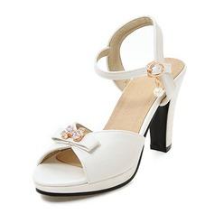 Donna Similpelle Tacco a spillo Sandalo Stiletto Piattaforma Punta aperta Con cinturino con Bowknot Perla imitazione Fibbia scarpe